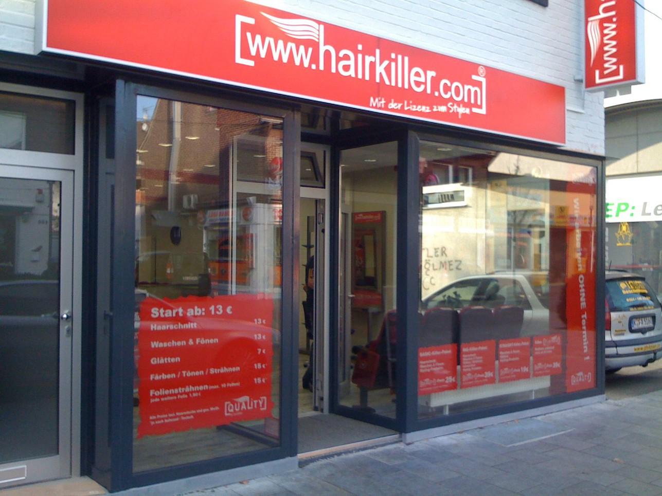 Hairkiller Hückelhoven Schaufenster und Leuchtkästen